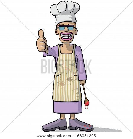 Smiling Woman Chef With Thumb Up