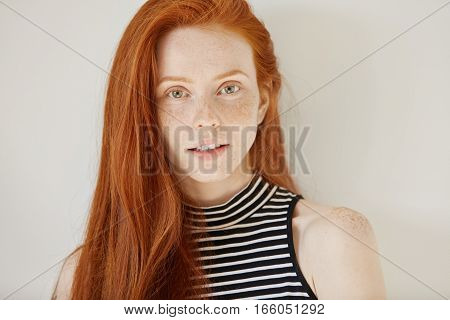 Youth And Lifestyle Concept. Close Up Portrait Of Attractive Caucasian Teenage Girl With Long Ginger