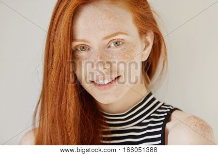 Beauty And Skin Care. Highly-detailed Portrait Of Attractive Redhead Teenage Girl With Charming Smil