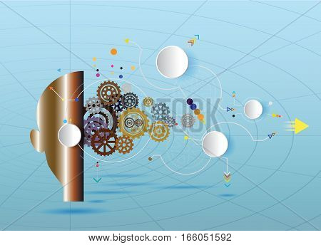 hi-tech digital technology robot network connect communication engineering telecoms technology for infographic a business plan Abstract futuristic on blue color background.