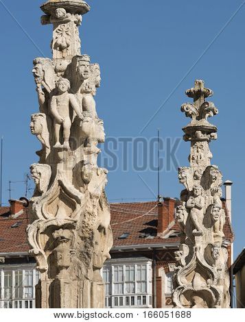 Burgos (Castilla y Leon Spain): exterior of the medieval cathedral in gothic style. Detail of statues