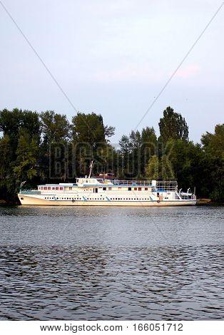 Pleasure boat in Kyiv in the wummer, Ukraine