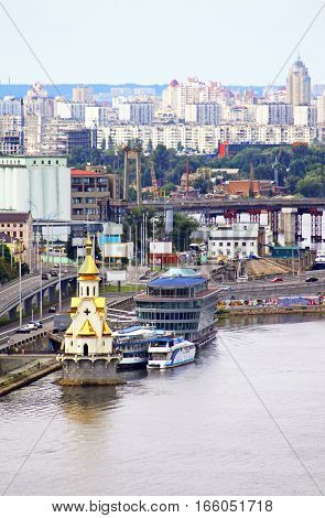 Church on the water and Podol district in Kyiv, Ukraine