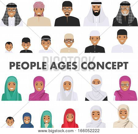Detailed illustration of different arab people avatars icons set in the traditional national muslim arabic clothing isolated on white background in flat style. Arab people father, mother, son, daughter, grandmother and grandfather.