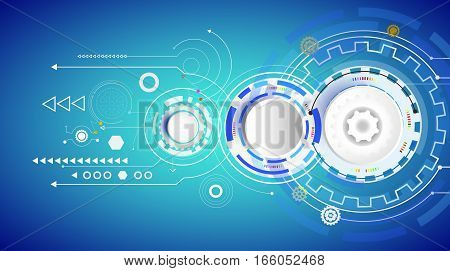 Vector illustration Hi-tech digital technology design colorful on circuit board and gear wheel engineering digital telecoms technology concept Abstract futuristic- technology on blue color background.