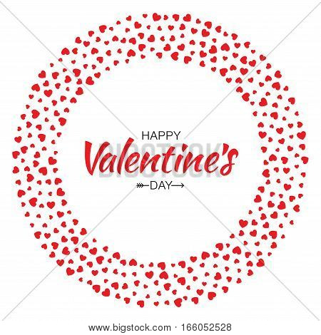 Abstract Red Hearts Circle Frame for Valentines Day Design Vector Illustration Card isolated on White Background. Wedding Invitation Card. Happy  Logo emblem for health care, medical, treatment.