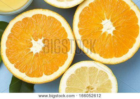 Sliced orange fruits closeup shoot for background
