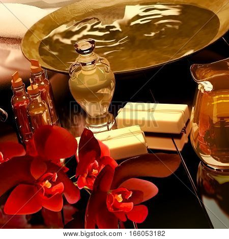 Spa still life with aromatic oil, essential, soap and flowers of an orchid on black background. 3D illustration