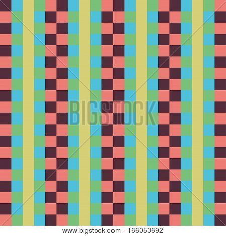 Geometric seamless pattern abstract background. Checkered design multicolored squares and the strip. For the design of wallpaper wrap fabric. Vector illustration
