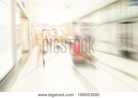 motion blur of people in shopping mall