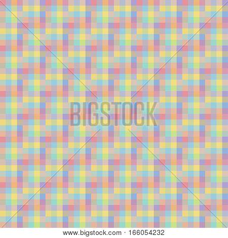 Geometric Seamless Pattern, Abstract Background, Optical Illusion. Checkered Design, Multicolored Sq