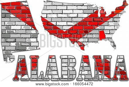 Alabama on a brick wall with effect - 3D Illustration, Alabama Flag painted on brick wall, Font with the Alabama flag,  Alabama map on a brick wall