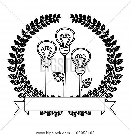 silhouette ornament of light bulb eco with leaves and label vector illustration