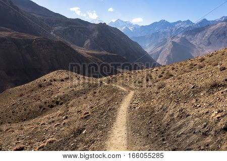 mountain trail in the Himalayas Mustang Nepal