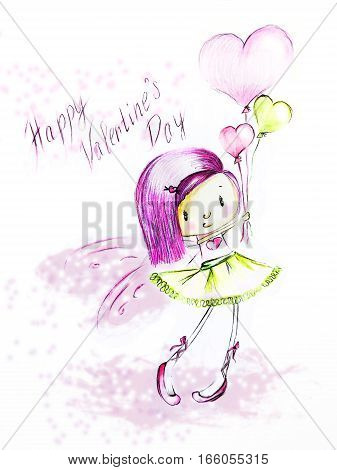 Sketch - girl with heart balloons - Happy Valentine's Day
