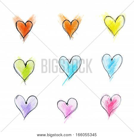 Colorful Hearts Pattern Of Hand Drawn Sketch