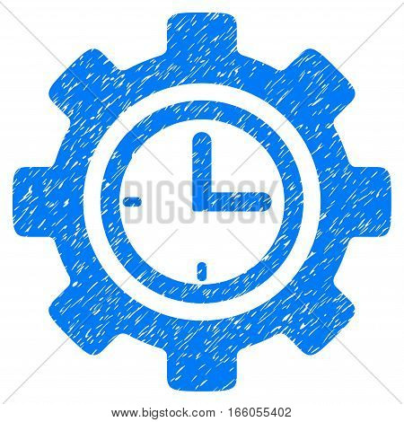 Time Setup Gear grainy textured icon for overlay watermark stamps. Flat symbol with dirty texture. Dotted vector blue ink rubber seal stamp with grunge design on a white background.