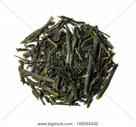 Heap of green tea japanese sencha isolated on white background view from above. poster