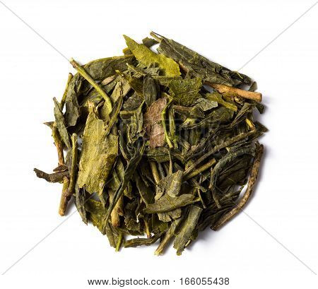 Heap of green tea bancha japanese isolated on white background view from above.