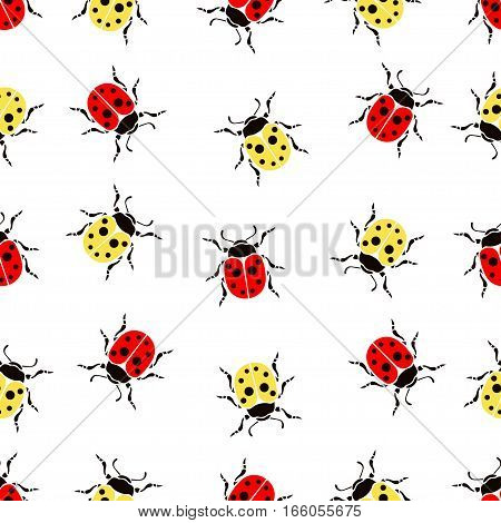 Beetle Ladybug Seamless Pattern, Insects Vector Background. Red And Yellow Speckled Bugs On A White