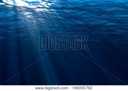 Deep Blue Ocean Waves From Underwater Background, Light Rays