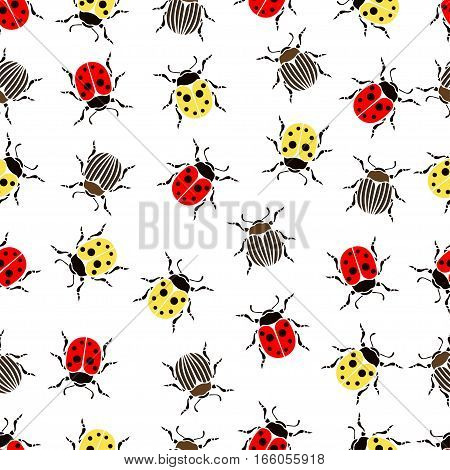 Beetle Ladybug Seamless Pattern, Insects Vector Background. Red And Yellow Speckled Bugs  Striped  O