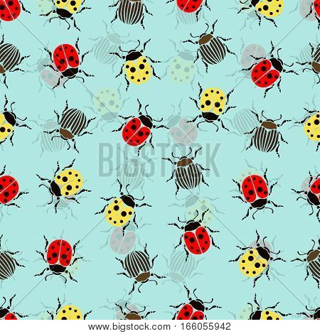Beetle ladybug seamless pattern insects vector background. Red and yellow speckled bugs and striped bugs on a blue background. For fabric design wallpaper wrapping print paper decoration poster