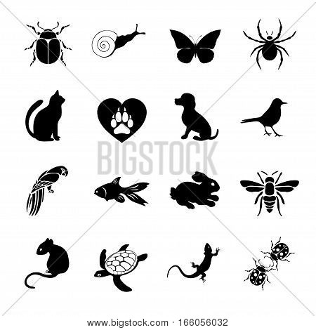 Vector Set Flat Web Icons Animals And Insects. Black  White  For Internet, Mobile Apps, Interface De