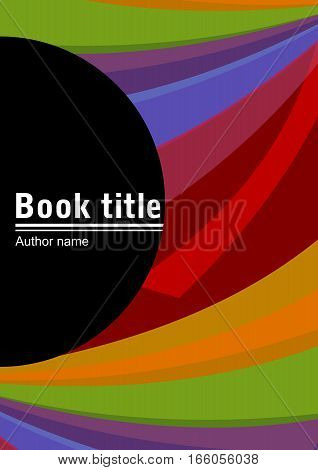 Book cover template with abstract composition of multicolored cambered strips place for own text in a black semicircle