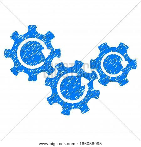 Transmission Gears Rotation grainy textured icon for overlay watermark stamps. Flat symbol with dust texture. Dotted vector blue ink rubber seal stamp with grunge design on a white background.