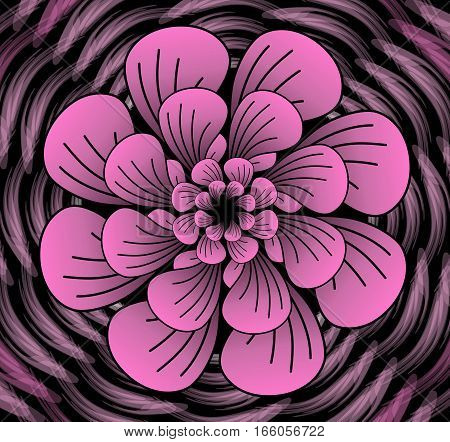 Abstract dark pink vector flower pattern shape in fractal style on black background high contrasting decorative tile with 3d effect