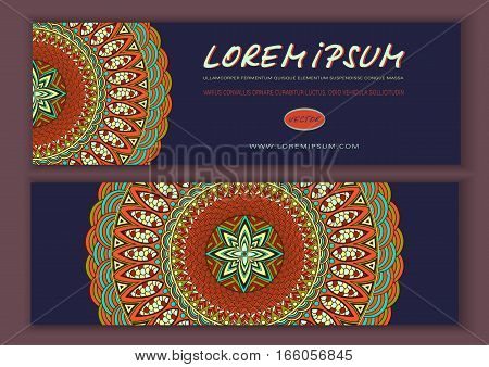 Vector Banner Templates With Abstract Ethnic Patterns. Double-sided Flyer, Card, Invitation  Mandala