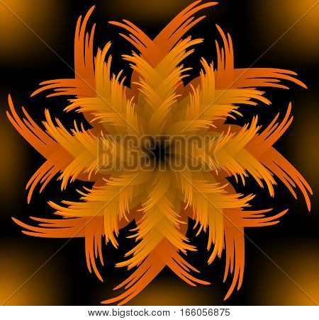 Abstract orange vector jagged flower pattern in fractal style on black background high contrasting decorative tile with 3d effect