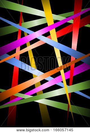Futuristic vector background uneven distributed diagonal multicolored strips with gradient on black bakcground vector template useful as cover leaflet background poster design