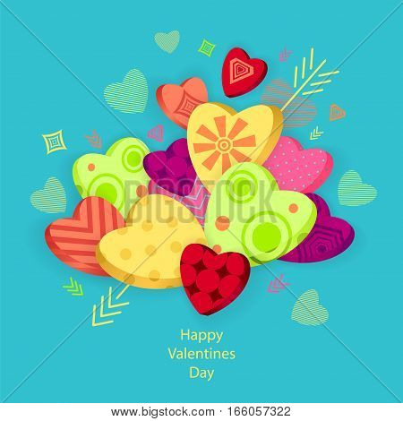 Textured Hearts with 3D effect and arrow on blue  for Poster or for Creative Post Card from Happy Valentines Day
