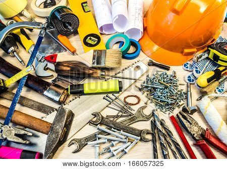 Set of many construction tools, can be used as background