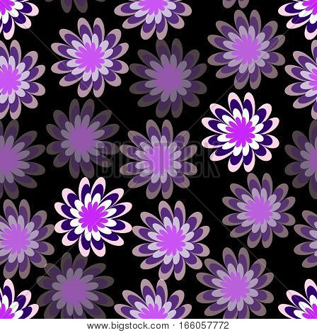 Spilled purple flower with different hue on black background uneven distributed floral shapes abstract seamless background
