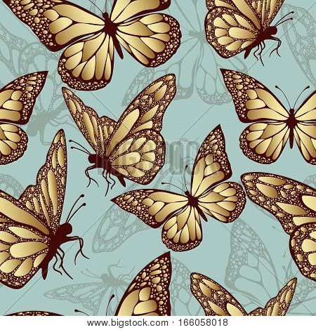 Golden butterfly seamless pattern. Luxury design expensive jewelry. Exotic patterned Insect. Golden and translucent wings on blue background. Textiles fabric design wallpaper vector background
