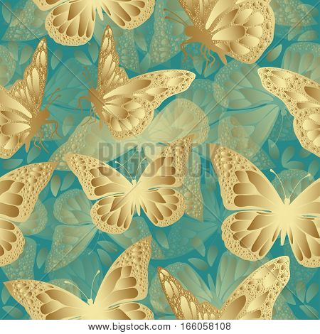 Golden Butterfly Seamless Pattern. Luxury Design, Expensive Jewelry. Exotic Patterned Insect. Golden