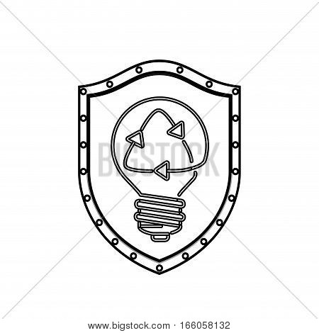 monochrome silhouette with shield with light bulb with filament recycling vector illustration