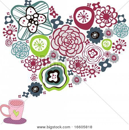 Cup of coffee with floral design elements