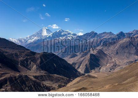 Beautiful landscape of Himalayas mountains. Mustang Nepal