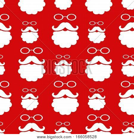 Vector illustration. Seamless pattern with glasses, mustache and beard