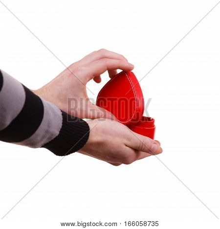 Man Holds Heart Shaped Gift Box In Hand