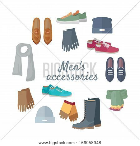 Man s accessories concept. Set of casual men s clothing and shoes for cold season. Scarf, gloves, hat, boots, loafers, sneakers vector illustrations isolated on white. For store ad, fashion concept