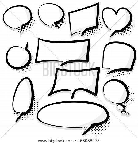 Set picture blank template comic text speech chat bubble style pop art. Dialog empty cloud, space pop art Creative idea conversation. Clear comics book sketch explosion