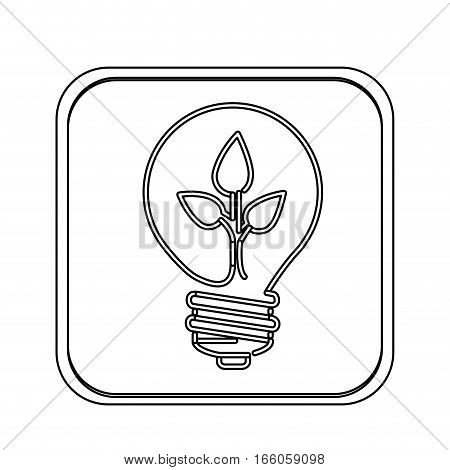monochrome square with light bulb with filament leaves vector illustration