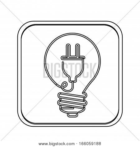 monochrome square with light bulb with filament power cord vector illustration