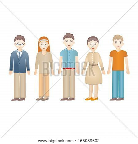 Set of diverse people isolated on white background. Vector illustration of neutral grown up characters for business presentation or infographic