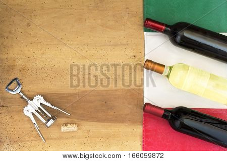 Italian Wine Bottles On Wooden Background
